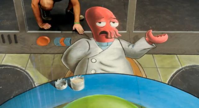 Drawing the Amazing 3D Chalk Portrait of Zoidberg