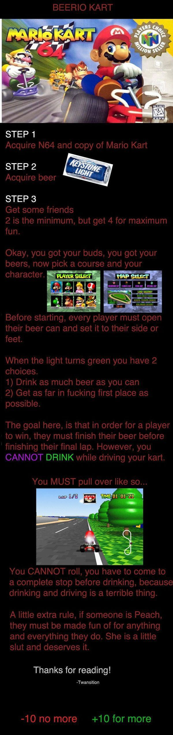 Drinking Game for Mario Kart Fans