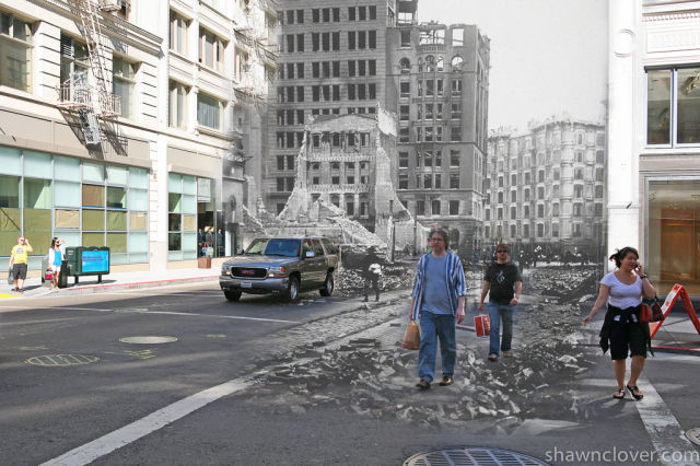 San Francisco Streets Today and After the 1906 Earthquake Blended