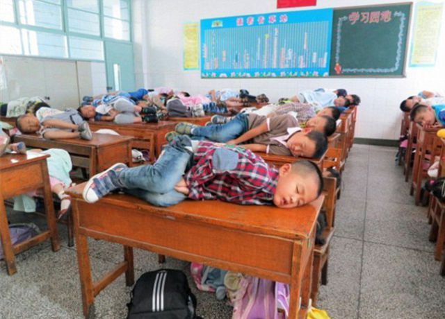 Chinese Kids Having Midday Sleep at School
