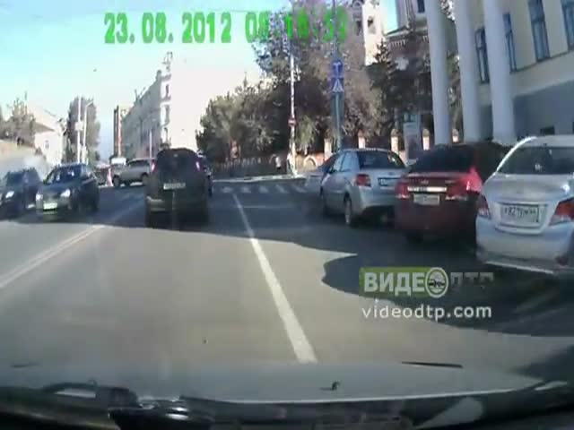 Scared Pedestrian Gets Angry