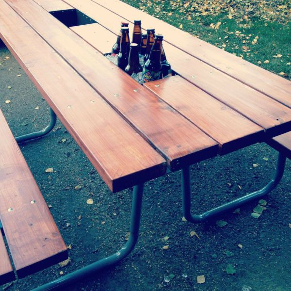 beer cooler picnic table 6 pics