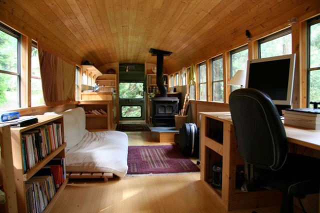 School Bus Converted Into a House