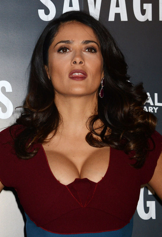 Oliver Stones Takes Advantage of Salma Hayek's Cleavage