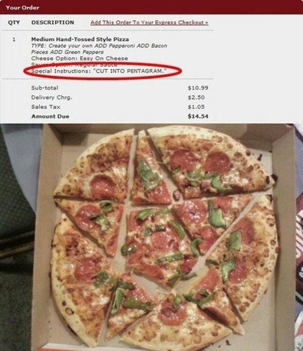 how to order a pizza in english