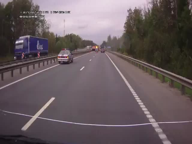 Crazy Russian Rear-End Accident