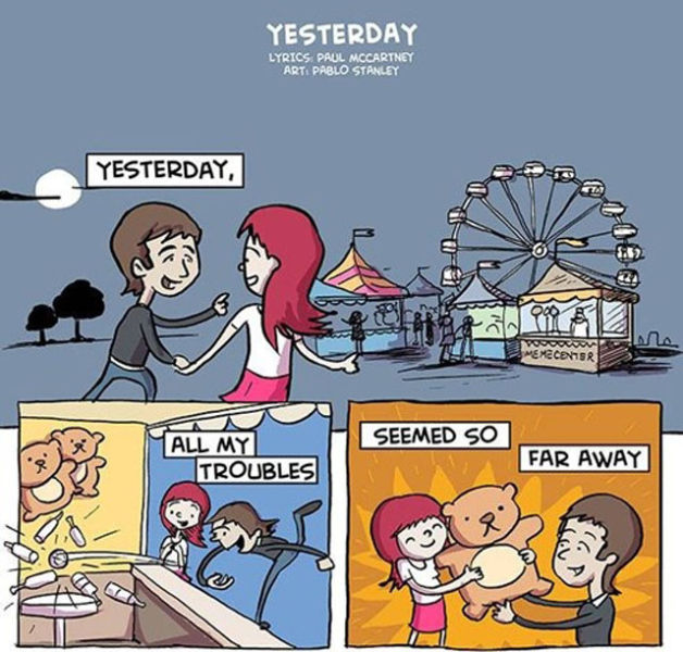 "The Beatles ""Yesterday"" Lyrics in Illustration"