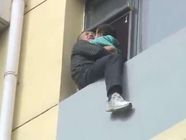 Saving a Suicidal Man Holding a Baby by Kicking Him