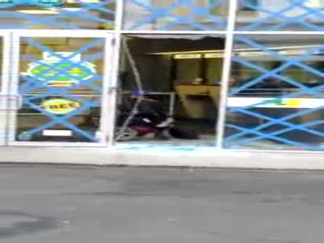 Crazy Man in Wheelchair vs Store Window