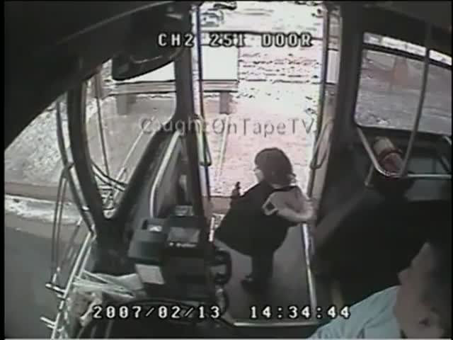 Amazing Bus Driver's Life Saving Grab