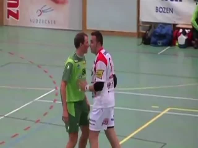 Attacked by a Kiss, Handball Player Has to Show He's All Man!