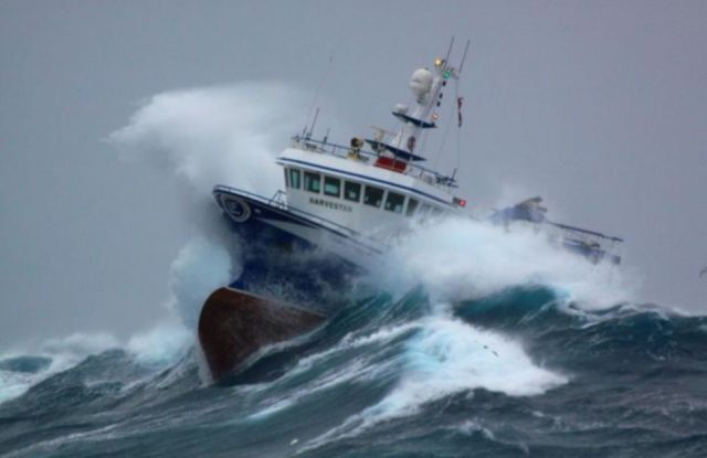 Massive Waves Pummel Fishing Boat in the North Sea