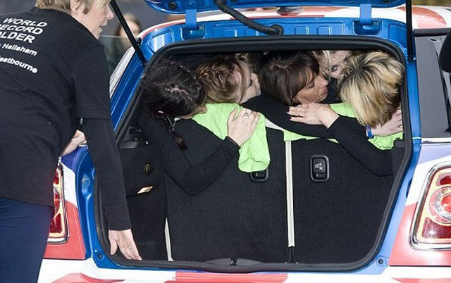 Any Guesses as to How Many People Can Fit Into a Mini Cooper at Once?