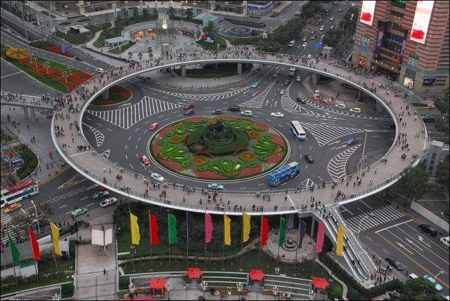 One-of-a-kind, Circular Pedestrian Bridge in China