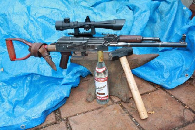 Homemade AK-47 Constructed from Simple Garden Shove