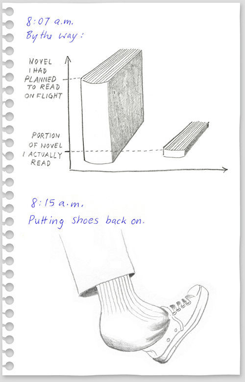 Passenger Records His Flight Experience Through Diary Illustrations
