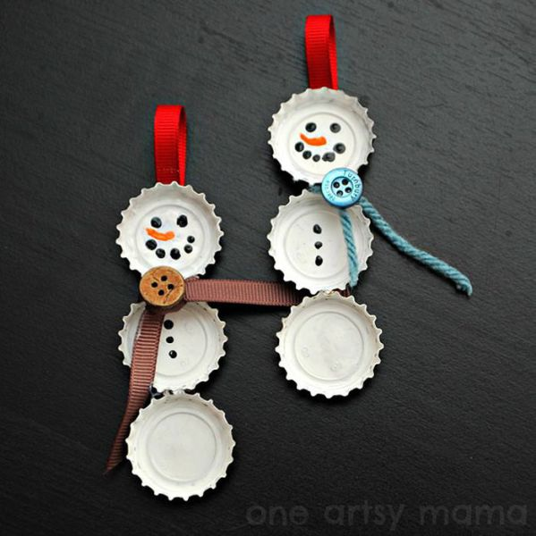 27 bottle cap snowman ornaments