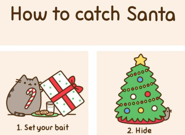 Pusheen Shows How Santa Slipped Through His Claws
