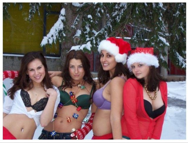 Drunk Girls Embracing The Christmas Spirit Of Giving