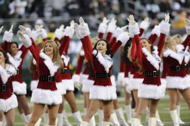 Cheerleading Snow Maidens Spread the Christmas Spirit