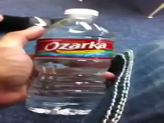 Drinking A Bottle Of Water In One Second !