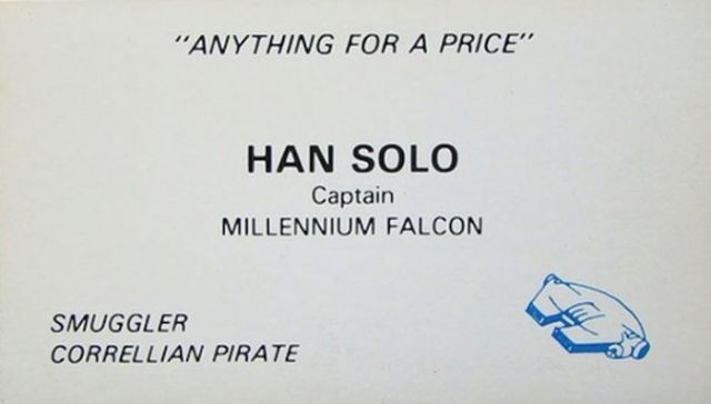 Business Cards From Star Wars Characters