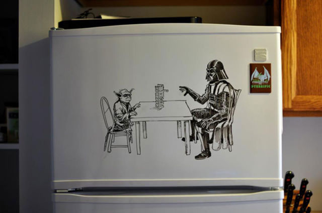 Crazy Fridge Art With Dry-Erase Marker