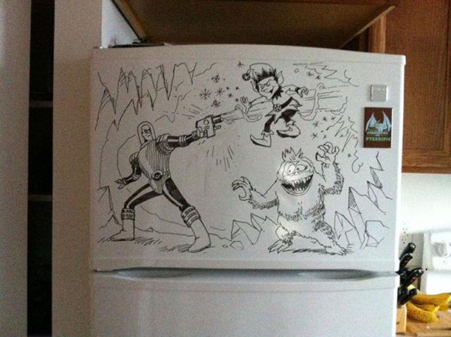 Crazy Fridge Art With Dry-Erase Marker
