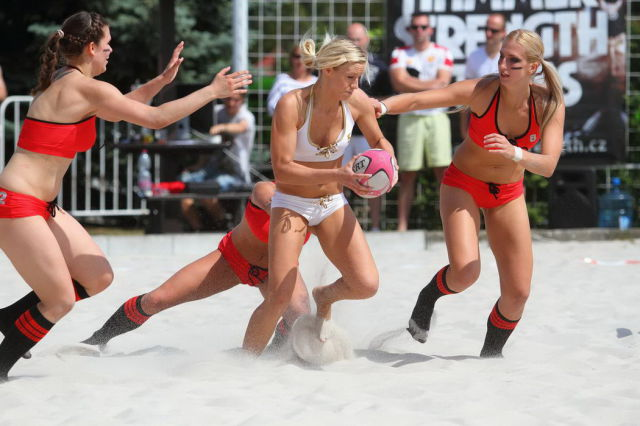 Sexy American Beach Football Championship Action Shots