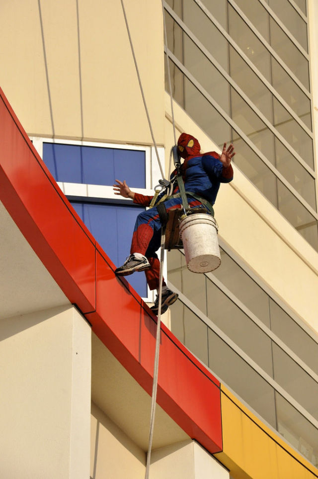 Superheroes Take Time Out to Clean Windows
