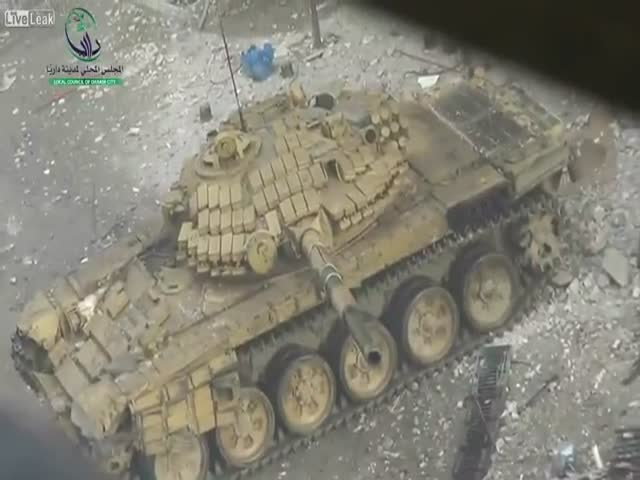 Syrian Man Videotaping Tanks Shooting around Him
