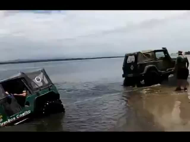 Pulling Out Car Stuck in Water Fail