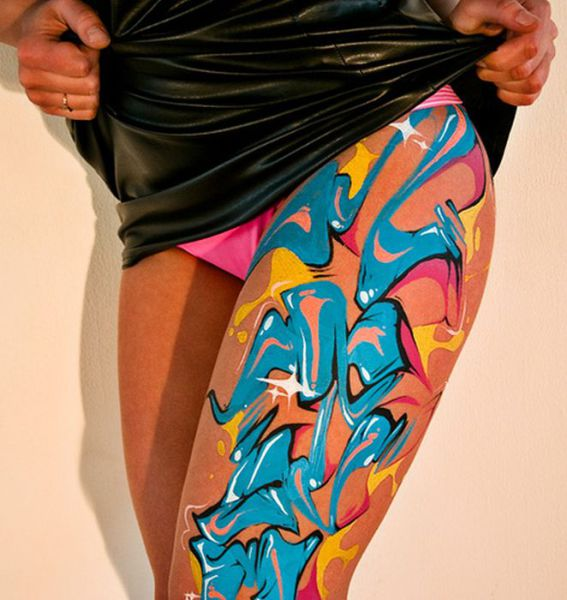 Girls with Graffiti Body Art