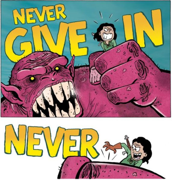 "Motivational ""Never Give In"" Comic"