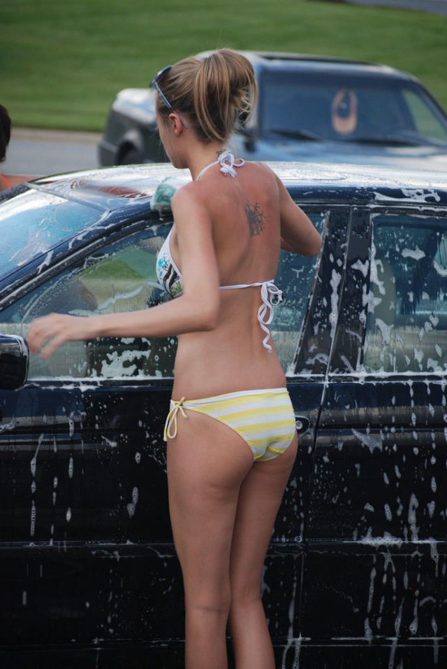 Naked bikini car wash girls