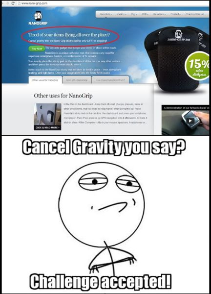 Cancel Gravity With Nano-Grip Sticky Pad They Say? Challenge Accepted!