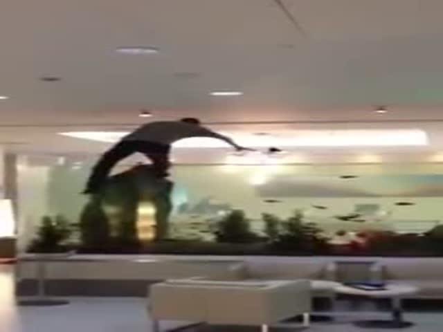 Man Jumps into Giant Hotel Fish Tank