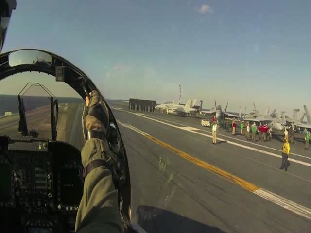 F-18 Catapult Launch on Aircraft Carrier – Cockpit POV