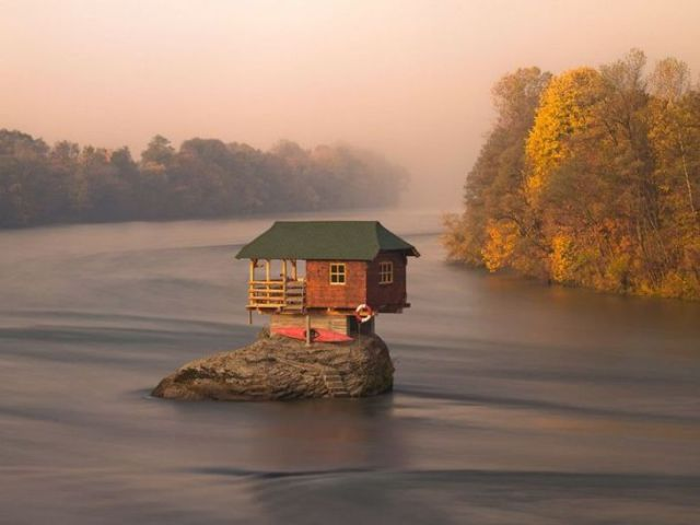 Cute Lonely House in the Middle of Serbian River