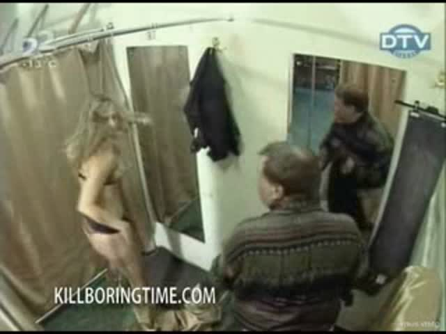 Public prank half naked girl in the mens dressing room.