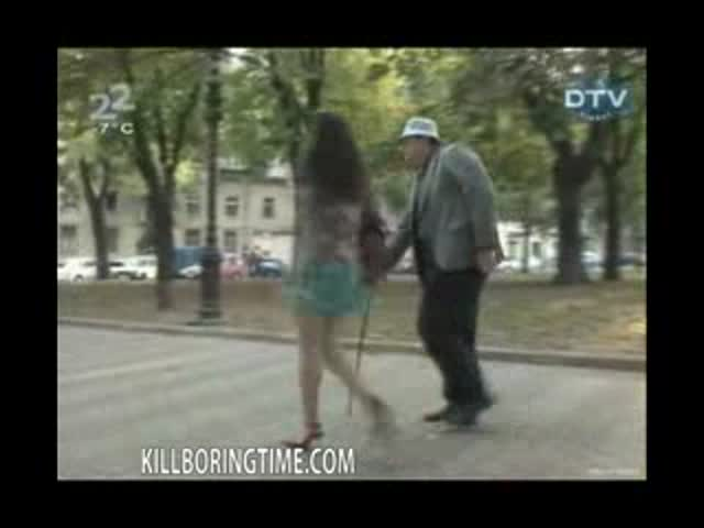 Crazy old pervert lifting women skirts on the street its a public prank