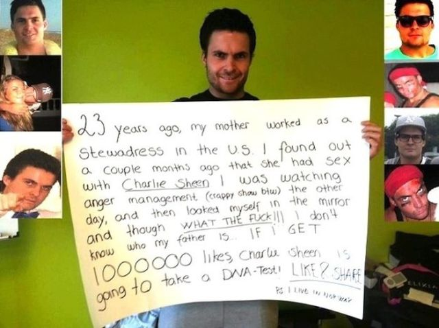 Charlie Sheen's Illegitimate Son's Elaborate Social Pleas