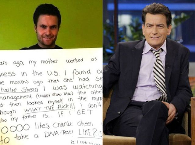 Charlie Sheen's Illegitimate Son's Elaborate Social Pleas