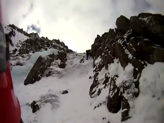 Scary POV Footage of a Mountain Climber's Fall