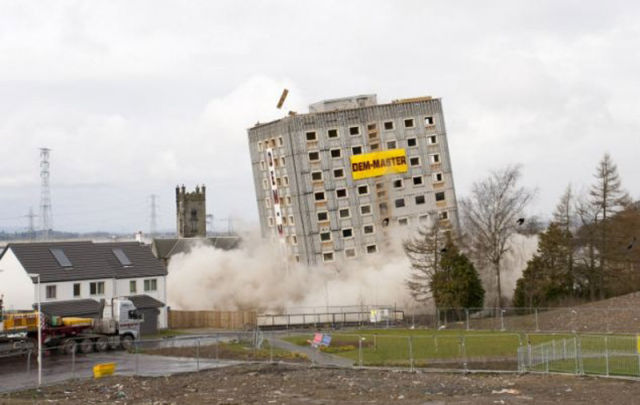 Action Shots of Building Getting Blown Up