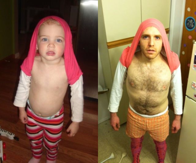 A Weird Dude Re-enacts Scenes in Baby Photos