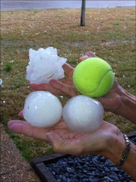 Super-sized Gigantic Hail Balls in Mississippi USA