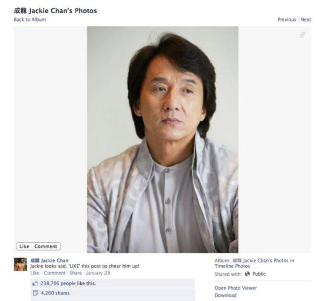 Jackie Chan's Funniest Facebook Photos and Comments!