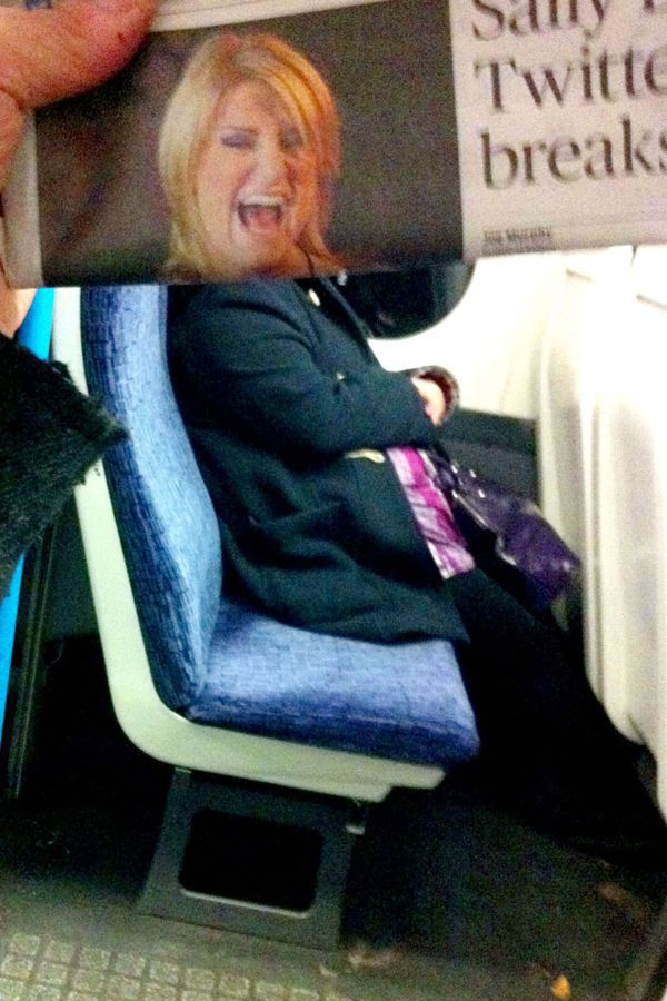 Funny Newspaper Photobombs Amuse This Bored Commuter