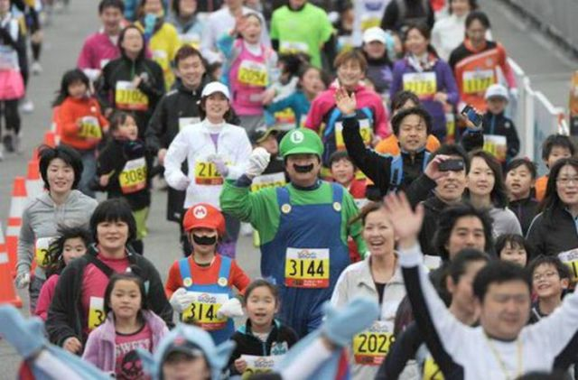 People in Quirky Costumes at the Annual Tokyo Marathon